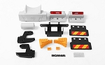 Custom New Detailed Rear Bumper System w/ Mud Flaps and Rear Lamps for Tamiya 1/14 Scania
