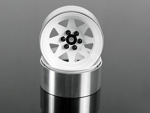 "6 Lug Wagon 2.2"" Single Steel Stamped Beadlock Wheels (White)"