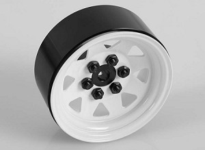 6 Lug Wagon 1.9 Steel Stamped Beadlock Wheels (White)