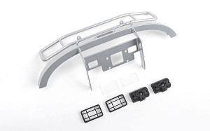 Ranch Steel Front Winch Bumper w/ Lights for Axial 1/10 SCX10 II UMG10 (Silver)
