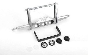Shirya Front Winch Bumper w/ Lights for Vanquish VS4-10 Origin Body (Silver)