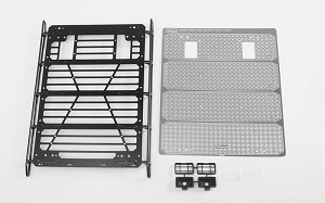 Command Roof Rack w/ Diamond Plate & 2x Square Lights for Traxxas TRX-4 Mercedes-Benz G-500 (Style A)