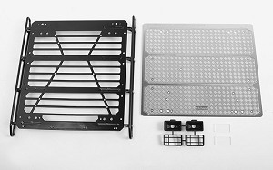 Command Roof Rack w/ Diamond Plate & 2x Square Lights for Traxxas Mercedes-Benz G 63 AMG 6x6 (Style B)