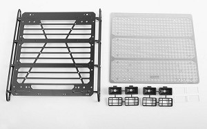 Command Roof Rack w/ Diamond Plate & 4x Square Lights for Traxxas Mercedes-Benz G 63 AMG 6x6 (Style B)