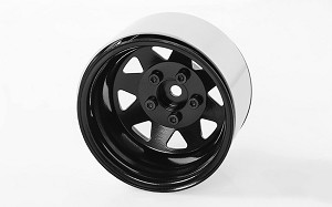 "5 Lug Deep Dish Wagon 1.9"" Steel Stamped Beadlock Wheels (Black)"