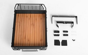 Kober Rear Bed w/Tire Holder & Mud Flaps for RC4WD TF2 LWB Toyota LC70 (Black)