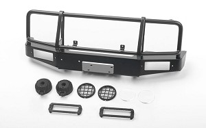 Trifecta Front Bumper w/ Round Lights for Capo Racing Samurai 1/6 RC Scale Crawler (Black)