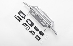 Guardian Tube Front Bumper w/ Square Lights for Capo Racing Samurai 1/6 RC Scale Crawler (Silver)