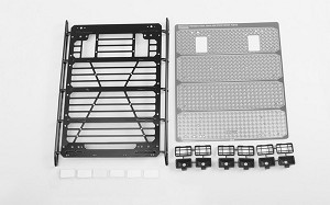 Command Roof Rack w/ Diamond Plate & 6x Square Lights for Traxxas TRX-4 Mercedes-Benz G-500 (Style A)