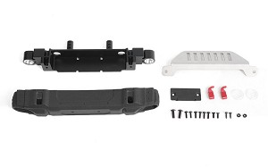 OEM Front Bumper w/ License Plate Holder + Steering Guard for Axial 1/10 SCX10 III Jeep JLU Wrangler