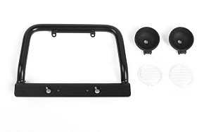Steel Push Bar Front Bumper W/ Clear Flood Lights for RC4WD Gelande II 2015 Land Rover Defender D90