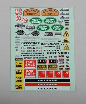 Gelande II Decal Sheet for D90/D110 Hard Plastic Body Kit