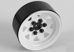 "6 Lug Wagon 1.9"" Steel Stamped Beadlock Wheels (White)"