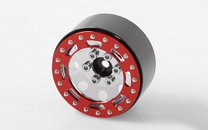 "TRO 1.7"" Stamped Steel Beadlock Wheels (Red/Chrome)"